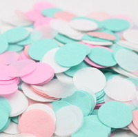 Wholesale Green Confetti - Wholesale-2.5cm Mint Green Pink White bridal shower decor Tissue Paper Confetti