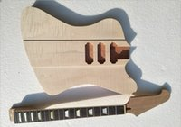 Wholesale Diy Guitars Kits - Musoo Brand Firebird Style DIY Electric Guitar Kit   DIY Guitar with flame maple top by CNC