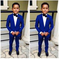 Wholesale Purple Pinstripe Pants - Royal Blue Kid's Wedding Groom Tuxedos Flower Boys Children Party Suits Bespoke 2 Piece (jacket + pants) custom made