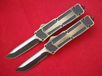 Wholesale Custom Aluminum Boxes - Microtech Navy Scarab Gold handle Marfione Custom Scarab Black blade single blade Serrated Tanto point gift knife in original box L