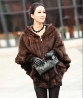 Wholesale Real Mink Stole - 100% Real Genuine Knit Mink Fur Cape Stole Shawl Scarf Wrap Coat Outwear Deluxe