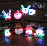 Wholesale christmas led light brooches - LED Christmas Brooches 300pcs lot Snow man Santa Claus Elk Bear Pins Badge Light Up Brooch Christmas Gift Party decoration