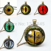 frauen drachenschmuck großhandel-Mix Dragon Eye Anhänger Halsketten Persönlichkeit Katze Augen Anhänger bunte Foto Auge Glaskuppel Anhänger Halsketten für Frauen Schmuck