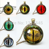 Wholesale Dragon Mix - Mix Dragon Eye pendant Necklaces personality cat eyes Pendants colorful photo eye glass dome pendant necklaces for women jewelry