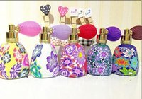 Wholesale Gasbag Perfume Bottles - 15ML Multi Color Polymer Clay Perfume Bottle with Gasbag Spray Atomizer Glass Frangrance Bottle Essential