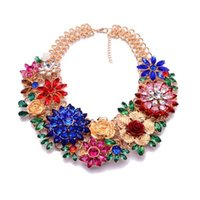 Vananya Fashion Luxury Crystal Flower Clear za Big Brand Party Jewelry Заявление Shourouk Chain Choker Воротник Ожерелье