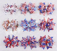 """Wholesale July Party - 20pc baby 3"""" Girls Christmas Halloween Party USA flag cartoon Frozen hello kitty princess ribbon Hair Bows Clips for 4th of july HD3442"""