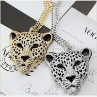 Wholesale Double Leopard Necklace - The New Queen Fan Children Sweater Chain Length Leopard Head Section Hollow Double Tiger Head Necklace And Chains Wholesale