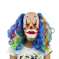 Wholesale Latex Venetian Mask - Terrible clown Latex Mask Costume Masquerade Face Party Cosplay Carnival Fancy Funny Joker Venetian masquerade Cosplay Masks