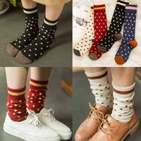 Wholesale Trade Baby Socks - 2015 free shipping socks for man women baby-- Hot autumn and winter trade cotton dot Japanese style piles of socks Ms. socks factory outlets