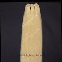 color de cabello rubio 613 al por mayor-Paquetes de cabello peruano Extensiones de trama de cabello humano de la Virgen de la Virgen india brasileña malasia extensiones de cabello 100g 1pcs 16