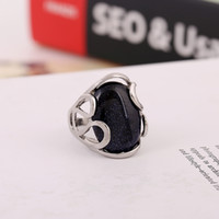 Wholesale Blue Sand Ring - Women New Natural Blue Sand Stone Solitaire Rings Mixed Type Multi style Blue Natural stone Fashion Ring for women Under $5