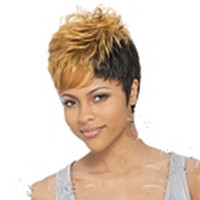 Curly black wigs - Capless New Stylish African American Wig Short Straight Yellow Black Synthetic Hair Cosplay Wig Full Wigs in Stock