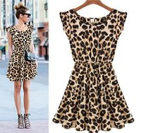 Wholesale Ladies Chiffon Style Dresses - Fashion women leopard grain printed dress lady sexy night out club mini dresses A-line street style summer clothing drop shipping