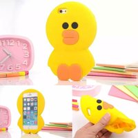 Wholesale Iphone 4s Baby - 2015 Cute cartoon animals Korea 3D baby yellow duck Soft Silicone case Capa Para Fundas For iphone4 4s 5 5s 6 6plus 6s 6s plus