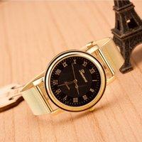 relógio de ouro em genebra venda por atacado-2015 Geneva Relógios cinto dourado malha genebra Relógio Para as mulheres / homens de vestido Assista Dial numerais romanos Mesh Belt Ladies Watch