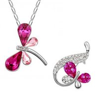 Wholesale Dragonfly Brooch Mixed - Hot sale high quality likable dragonfly necklace +brooch lead-tin Alloy jewerly crystal set -B130+F07