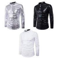 Wholesale White Leather Shirt Collar - Men's Shirt Personalized Crocodile Leather Shiny Solid Fashion Casual Stand-up Long-sleeved Shirts