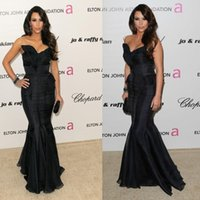 Wholesale Kardashian Cheap Prom Dresses - Kim Kardashian Black Evening Dresses 2015 Cheap Brush Train Sexy Long Mermaid Formal Prom Pageant Gowns For Women Backless Red Carpet Dress