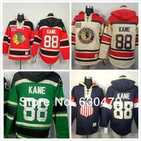 patrick kane usa olympic jersey al por mayor-2016 Nuevo, nuevo Chicago Blackhawks 88 Patrick Kane sudaderas con capucha Hockey verde Olympic Patrick Kane EE. UU. Hoodies Jersey Old Time