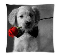 Wholesale pink roses pillow cases - Dog With Rose Bed Setting 45X45 cm Throw Pillow Case Free Shipping