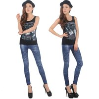 Wholesale Top Jeggings - 2015 TOP SALE New Fashion Women's Denim Jeans Leggings Jeggings Sexy Nine Leggings Denim Pants Dark Blue10Pcs Lot Free Shipping