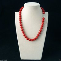 SHIPPINGRare gros-GRATUIT Véritable 10mm lisse Coral Sea-Rouge sud-Shell Pearl Necklace 18