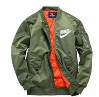 Wholesale Japanese Fashion Coats - Wholesale-MA1 pilot jackets kanji black green flight japanese MERCH BOMBER MA-1 Coats Jackets Zipper male clothing outwears plus size 4XL