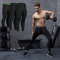 Wholesale Skin Tight Clothes - New Men's pro sports leggings basketball jogging clothing compression base layer skin tights quick-dry pants cycling fitness trousers