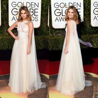 Wholesale golden globe white dress - 2016 Golden Globe Award Lily James Formal Celebrity Grecism Keyhole Neck Evening Dresses Tulle Floor Length Prom Party Gowns