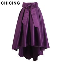 Wholesale Swallow Tail Hem - Wholesale-CHICING 4 Color 2016 Luxury High Waist Party Asymmetrical Hem Swallow-tailed Pleated Elegant Bow Women Satin Skirts A1410295