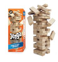 jogos empilhados venda por atacado-Jenga Hardwood Game Jogo de Tabuleiro Família 54 Pcs De Madeira De Empilhamento Tumbling Blocos de Torre Beber Jogo de presente de Natal