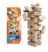 juego de madera jenga al por mayor-Jenga Juego de Madera Juego de Mesa de Madera 54 Unids Madera Apilamiento Tumbling Tower Blocks Juego de Beber regalo de Navidad