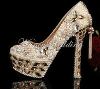 Wholesale Crystal Beaded Jeweled Shoes - Gorgeous Shoes Luxury Elegant Rhinestone Crystal Wedding Bridal Dress Shoes Jeweled Beaded Women High Heels Evening Prom Party Shoes