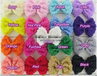 Wholesale Chiffon Clips - 34pcs lot Handmade DIY Rosette Flower Hair Bow For Baby Girls Headband's Clips Chiffon Hairbows Hair accessories hairpin
