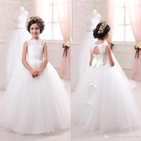 Wholesale Bridal Gowns For Kids - 2016 Cheap Ivory Bridal Flower Girls Dresses for Weddings Elegant Crew Neck Sleeveless Lace Tulle Kids Formal Wear