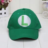 ingrosso cappuccio bianco mario-Cappelli per berretti da baseball Super Mario Bros di Mario Mario Cappelli di Mario Luigi 5 colori rosso verde giallo bianco viola