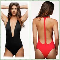 Wholesale Deep Cut One Piece Swimsuit - Red Black Bodysuit Sexy Deep V Neck High Cut 1 One Piece Swimsuit Backless Swimwear Women Bathing suit Beachwear Monokini Maillot 41431