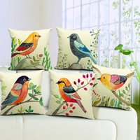 Wholesale Hand Painted Pillows - 6 Styles Hand Painting Birds Cushions Covers Pillowcase Bird Tree Cushion Cover Sofa Couch Throw Decorative Linen Cotton Pillow Case Present