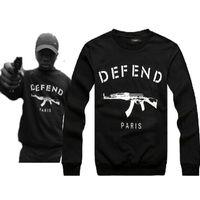 Wholesale M Pop - Wholesale-new 2015 auturn winter Letters printed brand fleece DEFEND PARIS AK47 Men's sportwear Hoodies and Hip pop sweatshirts top