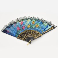 Atacado-Dance partido do laço de seda bordada Folding Hand Held Fan Sequins Flower Spanish Style zJJ0327W