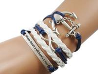 nautische lederarmbänder großhandel-schöne nautische Anker Seil Armbänder Unendlichkeit Lederarmbänder heiße blaue Leder Seil woven inspirierende Freundschaft Armband Schmuck