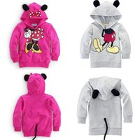 Wholesale Hoodie Coat Outfit - 5 Pcs Lot Baby Girls Boys Kids Mickey Mouse Minnie Sweatshirts 3D Tops Hoodies Coat Sportswear Costume Outfits Set Clothes