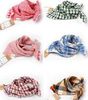 Wholesale Infant Feeding Cloth - 30Pcs New 2015 Baby Bandana Scarf Bibs 100% Cotton Baby Feeding Clear Triangle Kids Head Scarf Infant Double yarn Bibs Burp Cloth Plaid Bibs