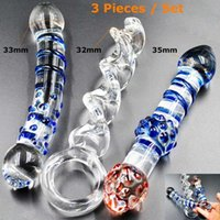 Wholesale Male Dildos - 151204 3 pieces Pyrex Glass Dildos Crystal Fake penis dicks Adult anal products Female male masturbation Sex toys set for women men gay