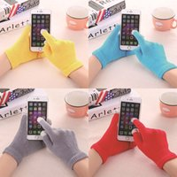 Wholesale knit fabric resale online - Winter Keep Warm Gloves Intelligent Mobile Phone Touch Screen Glove Colorful Knitted Adults Mittens Hot Sale ms B