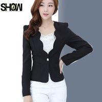 Wholesale Korean Office Wear - Office Lady Blazers Korean Elegant Work Wear Business Office Suit Slim Ruffled Royal Blue Yellow Jacket Coat White Black Blazer