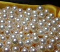 Wholesale 6mm Round Freshwater Pearl Bead - 5-6mm natural freshwater pearl beads loose beads half hole AAA particlesiece) +Wholesale&Retail+Free Shipping
