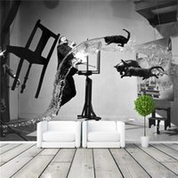 Wholesale Modern Painters Paintings - Painter Dali Photo Wallpaper Black and white Wall Mural Custom Art Wallpaper Room Decor Painting Wall art Kid room Bedroom Modern Decoration