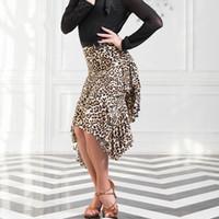 Wholesale gold latin dress - New Adult Latin Dance Dress salsa tango Cha cha Ballroom Competition Group Leopard Dance Skirt 2Color S-L